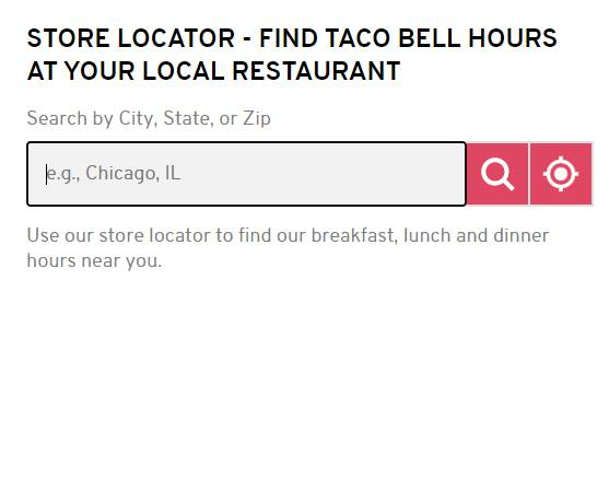 Taco Bell Hours Store Locator